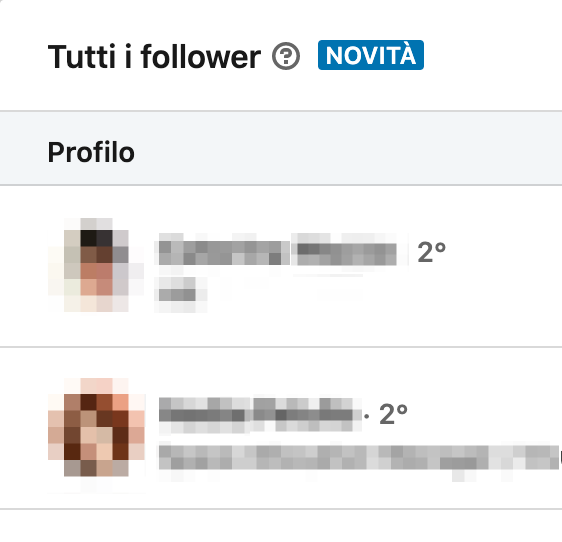 elenco follower pagina linkedin